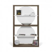 Temahome Designregal Zero - Walnuss / Weiß dekoriert