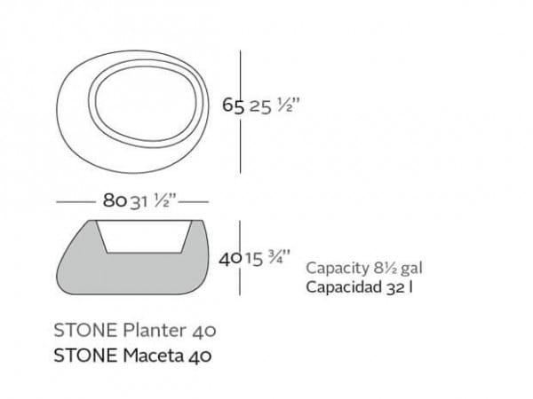 Pflanzgefäß Stone - 40 cm