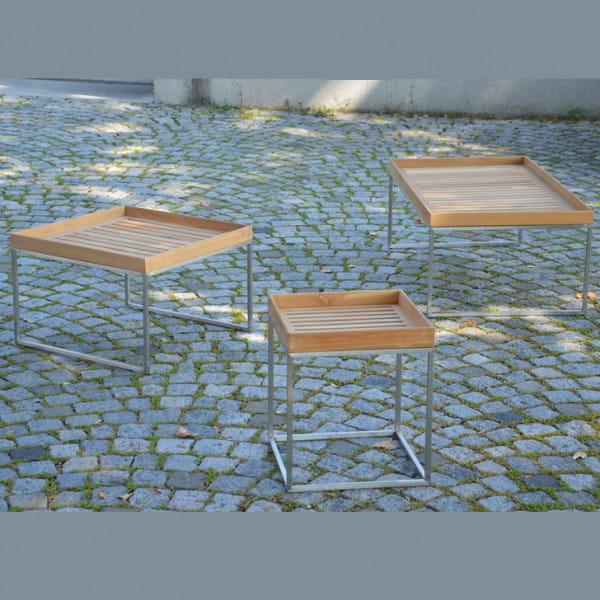 Jan Kurtz Couchtisch Pizzo 60 x 60 cm Edelstahl Teakholz