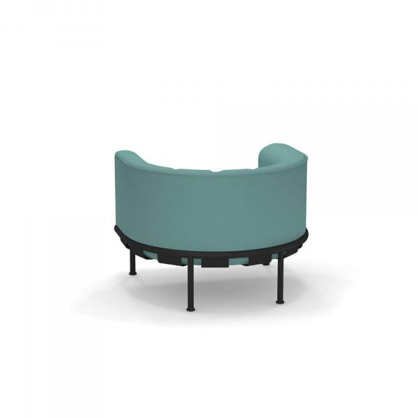 emu Loungesessel Dock - Beispiel Gestellfarbe Schwarz mit Polsterfarbe Türkis - hinten